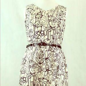 Lillie Rubin Cotton Sateen Dress with Belt Sz 12